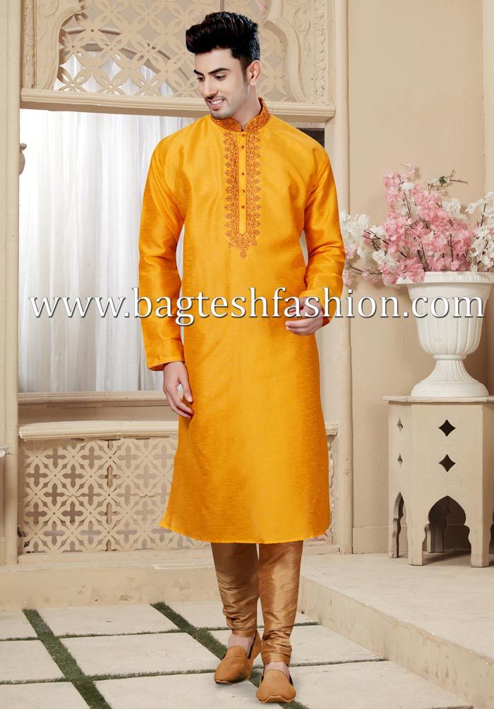 6242be7f8 Wedding Art Silk Yellow Kurta Pyjama #kurta #kurtapajama #kurtapyjama