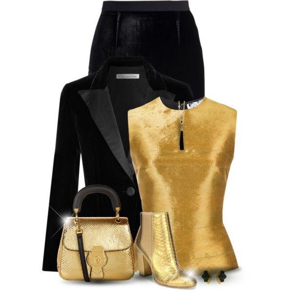 Gold- Bag & Shoes by oribeauty-cosmeticos on Polyvore featuring Oscar de la Renta, Roland Mouret, Sam Edelman and Burberry