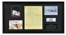 Lot Detail - May 30, 1977 Flight Log for Elvis Presley's Airplane <em>Lisa Marie</em> While on Tour, Baltimore to Jacksonville – Plus Unused Ticket for Cancelled Concert in Asheville, NC – In Framed Display
