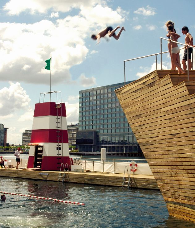 Habour swimbath at Islands Brygge in Copenhagen. The urban lifestyle.