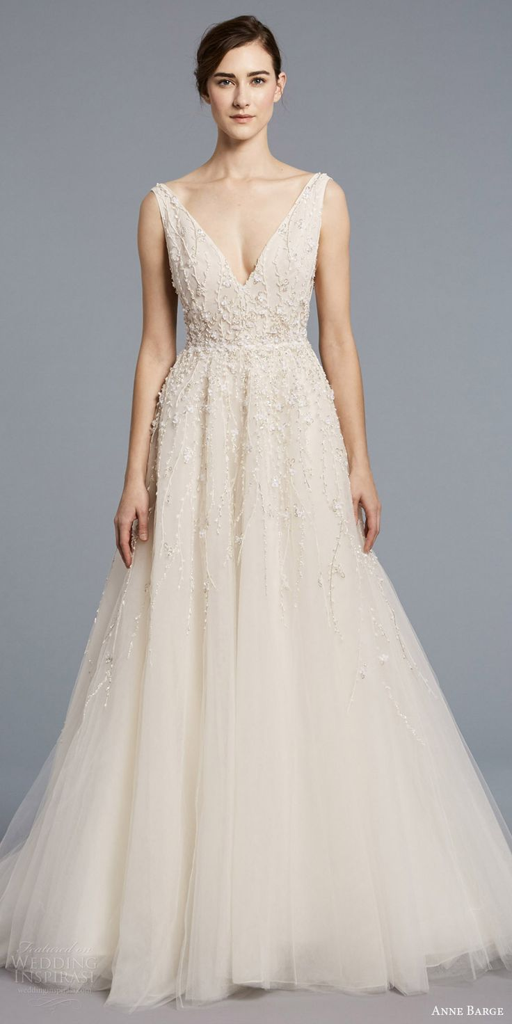 anne barge spring 2018 bridal sleeveless v neck fully embellished ball gown wedding dress (francoise) mv -- Anne Barge Spring 2018 Wedding Dresses