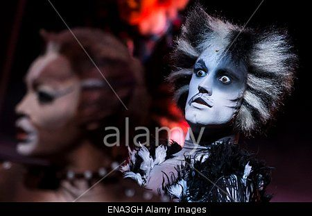 epa04723254 Cast members from the musical production of 'Cats' from London perform during a press presentation of the show, at the Mogador theatre in Paris, France, 27 April 2015. Since its debut in 1981, the musical 'Cats' has risen as one of the most popular an longest-running stage shows in the world and will soon open in Paris on 01 October.  EPA/IAN LANGSDON Stock Photo