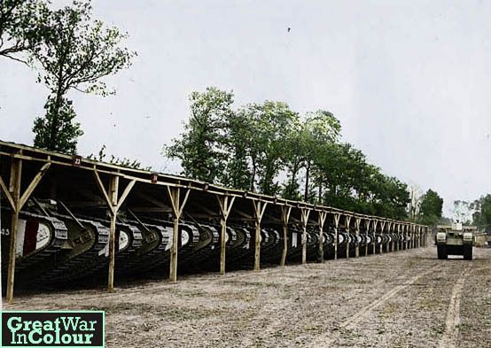 British tanks housed on the Western Front.