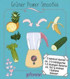 Das beste Rezept für grüne Smoothies zum Nachmachen auf www.gofeminin.de/kochen-backen/grune-smoothies-rezept-s1332613.html - Green Smoothie für Powerfrauen