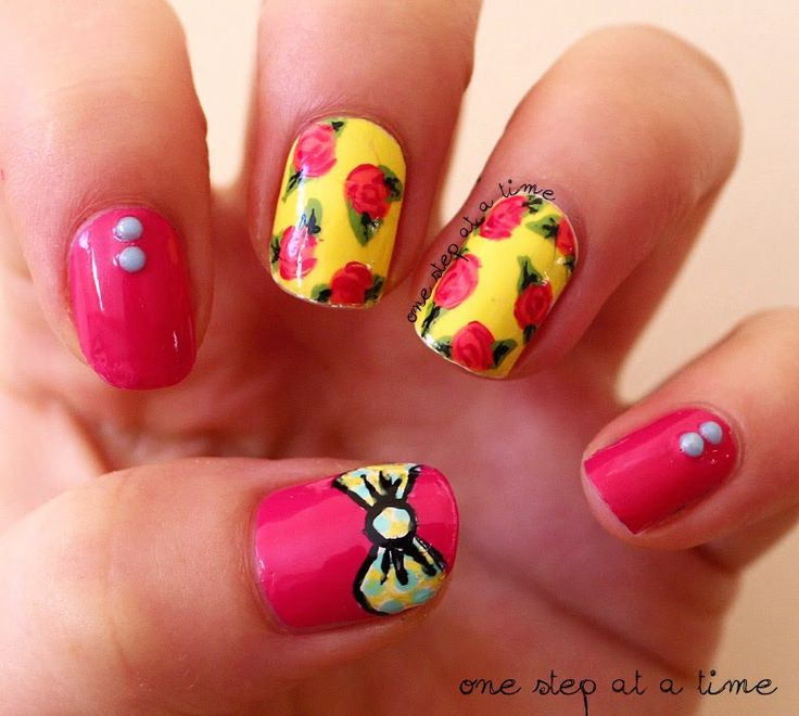 Bows and Flowers - One Step At A Time  #nails #nailart #floral