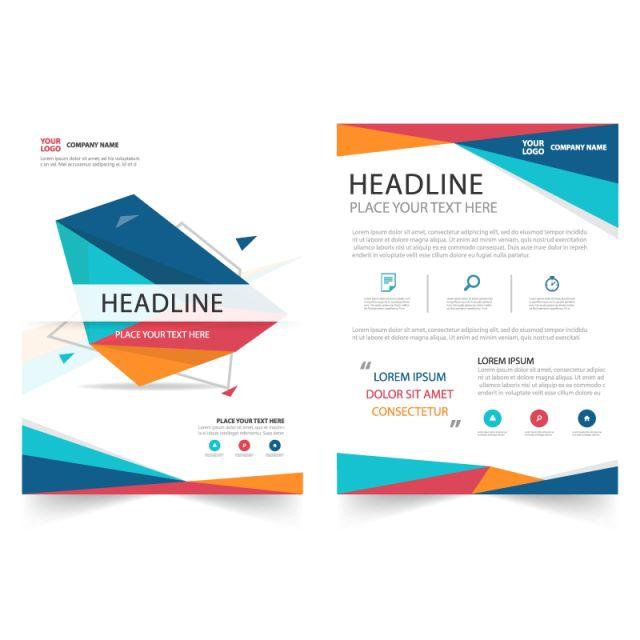 広告・マーケティングのウェブサイトのための抽象的なパンフレットフライヤー誌報告プレゼンテーション要素のテンプレート4サイズセット