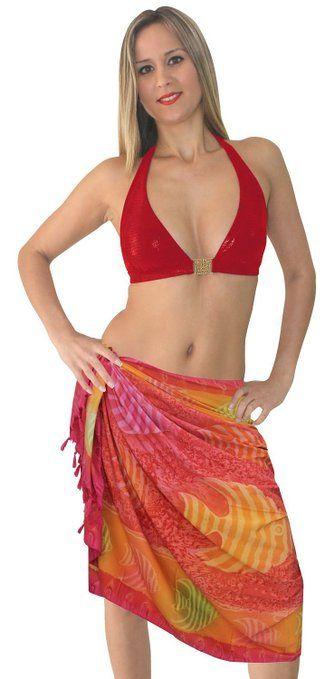 La Leela morbido likre beachwear mare galleggiante pesce una taglia costumi da bagno bikini involucro 3 in 1 gonna / prendisole / coprire costume da bagno hawaiano vestito sarong 183x107 cm arancione