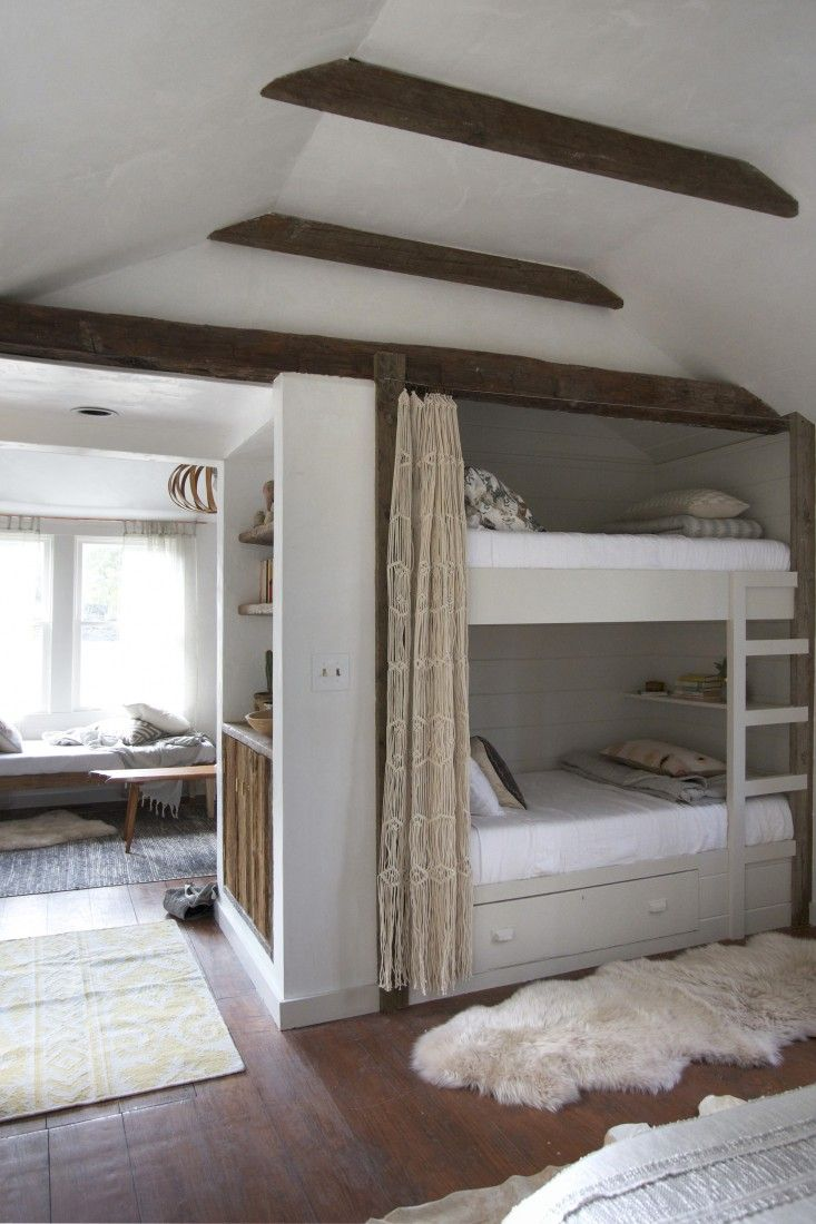 Built-in bunk beds in a Catskills guesthouse  by Jersey Ice Cream Co. | Remodelista
