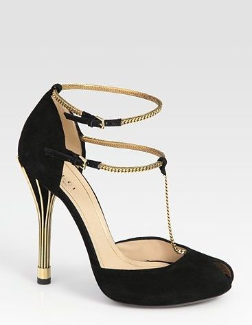 Shoe Obsession: The Gucci Ophelie Suede Chain T-Strap in Black and Gold