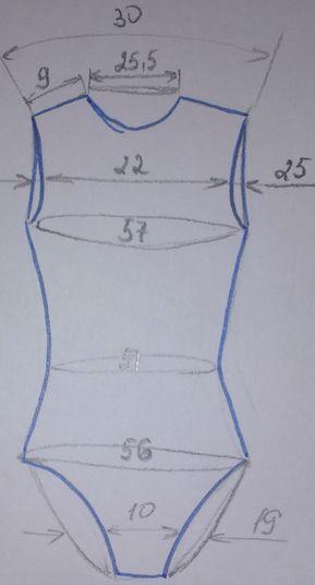 Выкройка купальника для художественной гимнастики