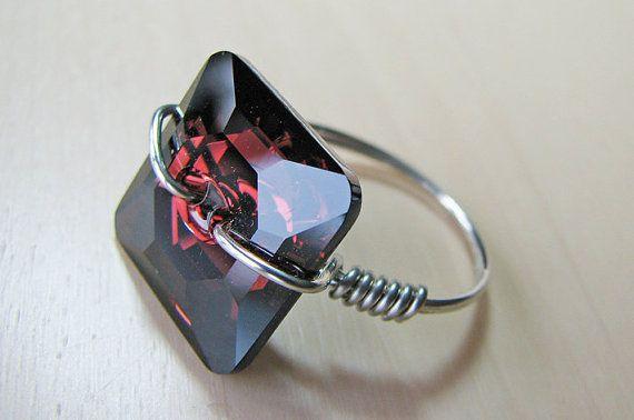 Swarovski Button Ring Crystal and Silver by CarolsJewelryOrchard, $22.00