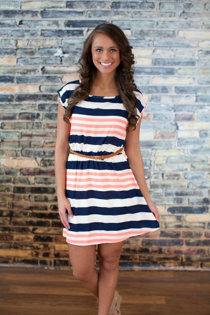**This looks so cute, yet comfortable. The Pink Lily Boutique - Down By The Bay Stripe Dress, $38.00 (http://thepinklilyboutique.com/down-by-the-bay-stripe-dress/)
