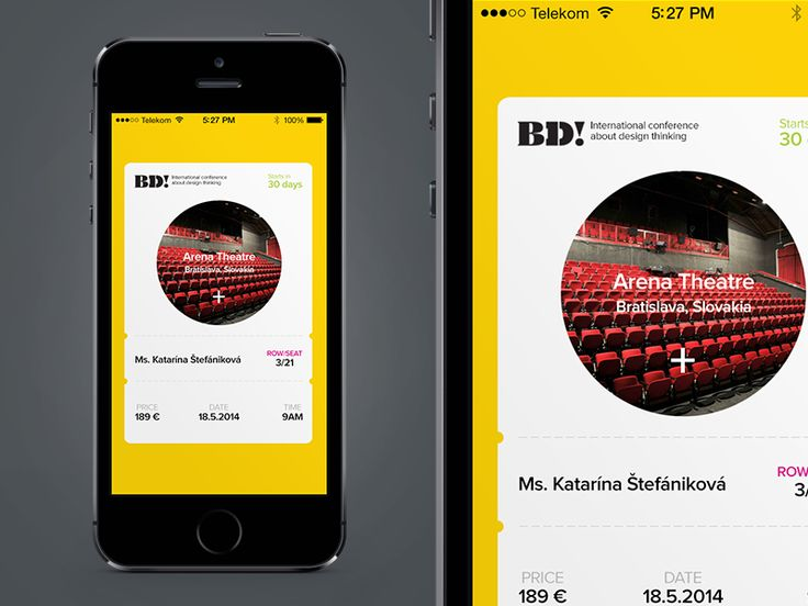 Mobile Ticket Idea for By Design Conference | Mobile App User Interface Design