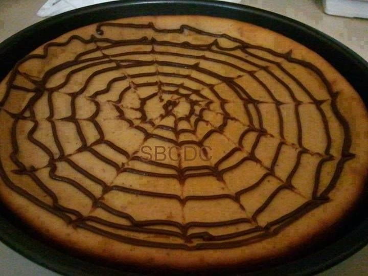 Spider Web Pumpkin Cheesecake!!  Get the recipe: https://www.facebook.com/photo.php?fbid=10204940930142922&set=a.1209514197928.32833.1230907378&type=1&theater
