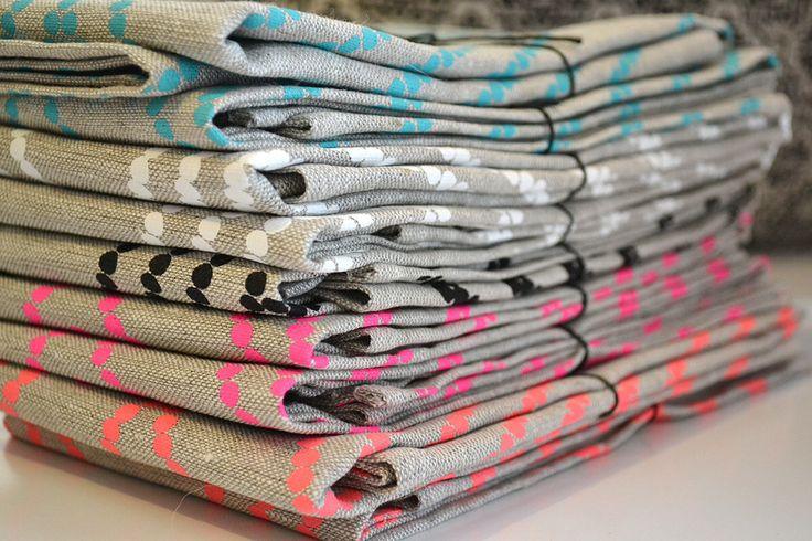 Dahlia tea towel stack