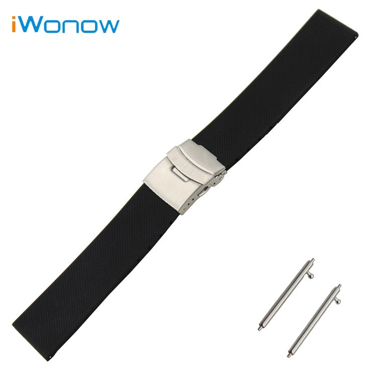 Silicone Rubber Watch Band 23mm 24mm for Tissot 1853 T035 Stainless Steel Safety Buckle Strap Wrist Belt Bracelet + Spring Bar