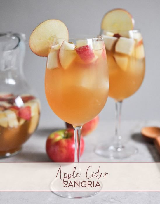 This Apple Cider Sangria is the perfect drink when you are ready for the tastes and smells of fall, but the warm weather is still holding up and you need a refreshing drink! Ingredients: 1 bottle Pinot Grigio 2.5 cups fresh apple cider 1 cup club soda .5 cup ginger brandy 3 honey crisp apples, chopped 3 pears, chopped Directions: Combine all ingredients together and stir, stir, stir. Refrigerate for an hour or so (or longer!) before serving. Recipe serves 4 to 6.