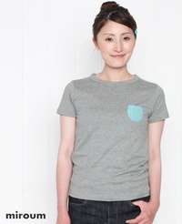miroum[ミロウム] ストライプ&チェック ポケット付き 半袖Tシャツ