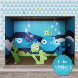 tuto pour réaliser un aquarium avec une boîte à chaussures ; en cadeau les poissons à imprimer