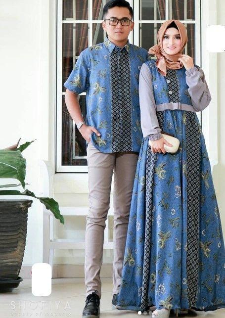 Model Baju Gamis Batik Kombinasi Kain Polos Terbaru Soft Grey Dark Blue baf579dfc6