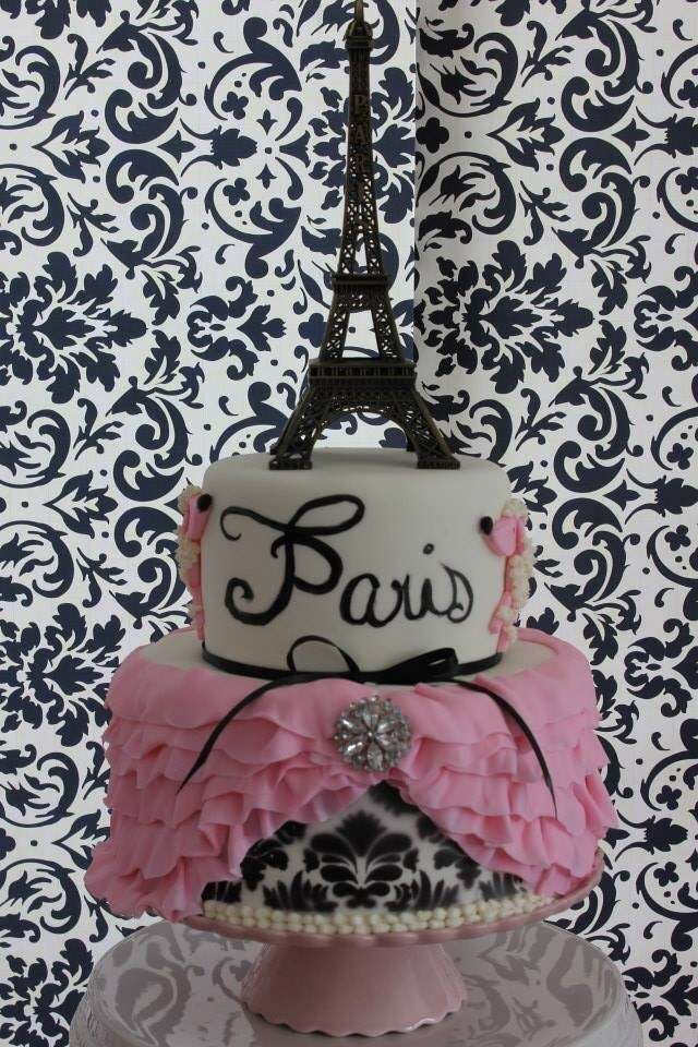 Gorgeous cake at a Paris birthday party! See more party planning ideas at CatchMyParty.com!