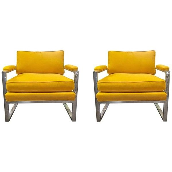 Pair of Milo Baughman Chrome Lounge Chairs ($299) ❤ liked on Polyvore featuring home, furniture, chairs, accent chairs, pair chairs, chrome furniture, set of two chairs, twin pack and yellow furniture