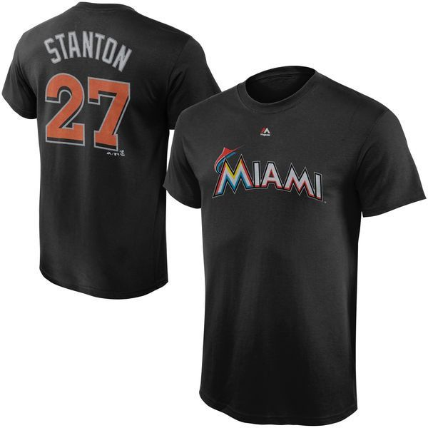 Giancarlo Stanton Miami Marlins Majestic Youth Player Name & Number T-Shirt - Black - $21.99
