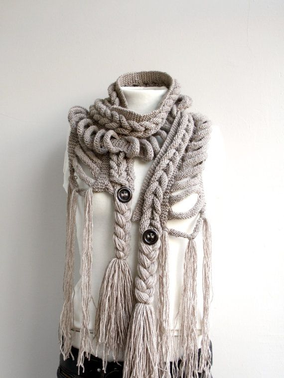 Milky Brown Wool  Scarf with Brown Button Christmas gift  UNDER 75USD For Her