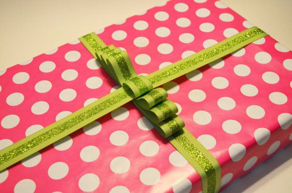 "Ready to buy!  By Stella and Regina  Pink and White Polka Dot with Green Glitter Ribbon Wrapped Apparel Gift Box (9.5"" X 15"")"