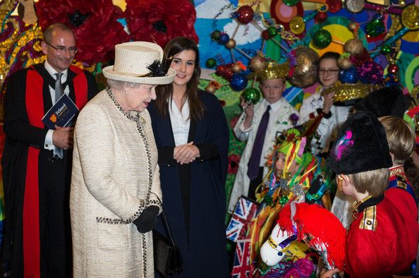 Queen Elizabeth II meet staff and pupils during an official visit to Felsted School on May 6, 2014 in Felsted, England. Her Majesty unveiled...