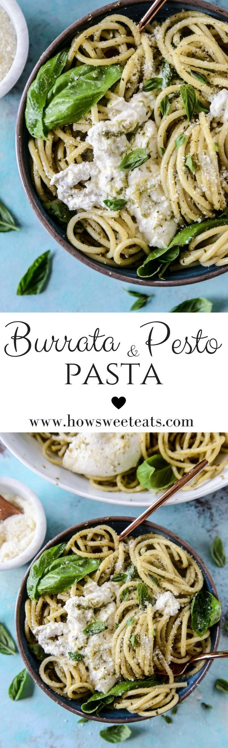 Welcome to your quick summer dinner dream! Really, it may not get much better than this. Unless you add a crisp glass of ice cold rosé or a chilled beer with a lime slice. Or a garlic bread stick. Or an extra burrata ball. Pesto and Burrata Bucatini