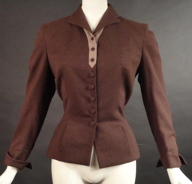 1940s Brown Wool Suit Jacket