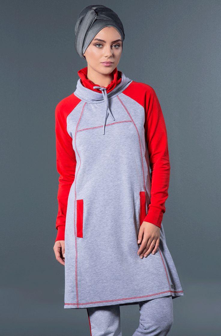 tesettür eşofman takımı; mercan garnili, reglan kollu eşofman takımı. Hijabstyle, muslimsportswear