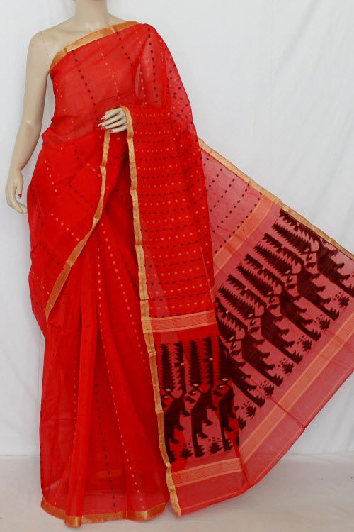 Red Handwoven Thousand Booti Bengal Tant Cotton Saree (Without Blouse) 14042