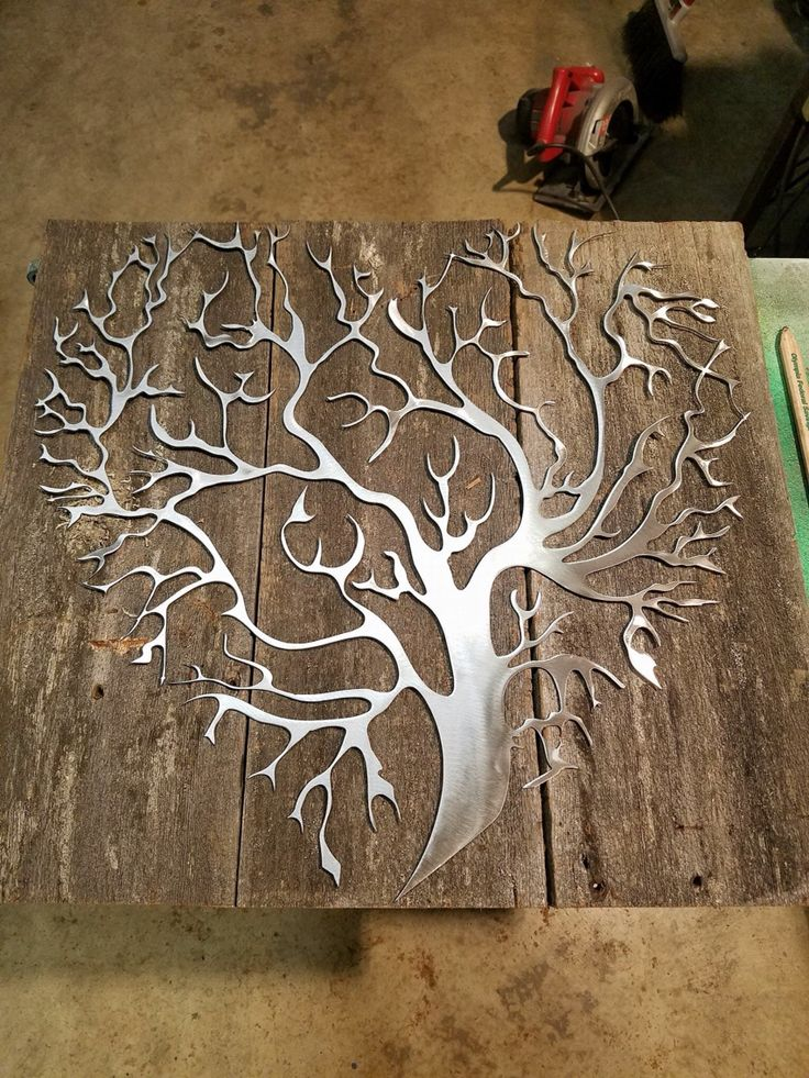"My New recycled barn wood with metal tree heart design 20""x21"" made to order https://www.facebook.com/Mindwerks-Metalcraft-custom-welding-fabrication-363635832828/"