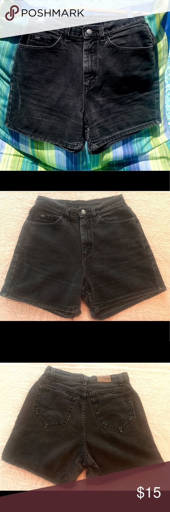 "Vintage Lee Jean Black Denim Shorts Festival Wear Vintage, black denim Lee Jean Shorts. High waist. Authentic tears. Tears only along right & left inside edges (see photos). Size 10. Made in USA. Ready for summer festival wear!  Measurements: Waist flat - 14.5"" Inseam - 4"" Front rise - 12"" Back rise - 16.5"" Lee Jeans"