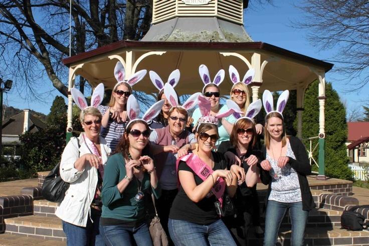 Bunnies on a fun Hens Treasure Hunt in Bowral!