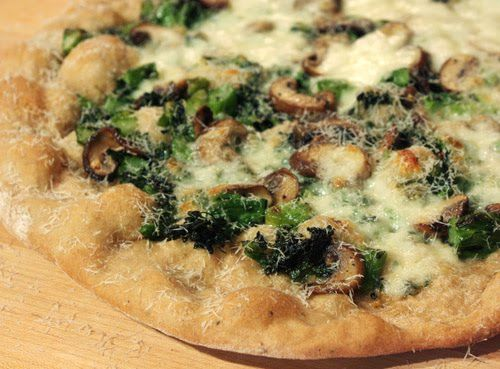 Pizza with Roasted Mushrooms and Charred Broccoli Rabe Pesto