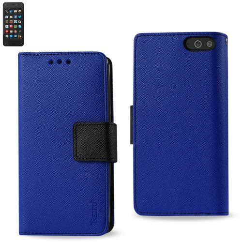 Reiko Wallet Case 3 In 1 For Amazon Fire Phone Navy With Interior Leather-Like Material And Polymer Cover