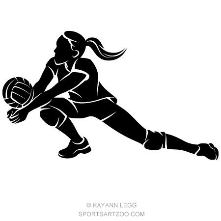 Volleyball Dig Girl   SVG Files