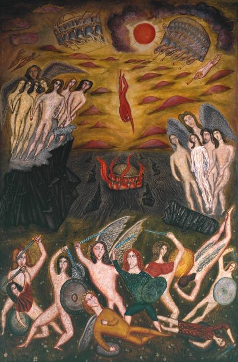 'The Fall of Lucifer' (1933) by English artist Cecil Collins (1908‑1989). Oil paint on canvas, 2730 x 1800 mm. via the Tate