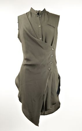 Lost & Found Hammered Silk Sleeveless Blouse in Algae » Women's Clothing » Santa Fe Dry Goods | Clothing and accessories from designers including Issey Miyake, Rundholz, Yoshi Yoshi, Annette Görtz and Dries Van Noten