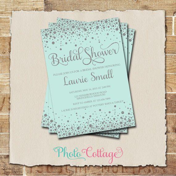 Bridal Shower Invitation Gold Silver Invitation by PhotoCottage