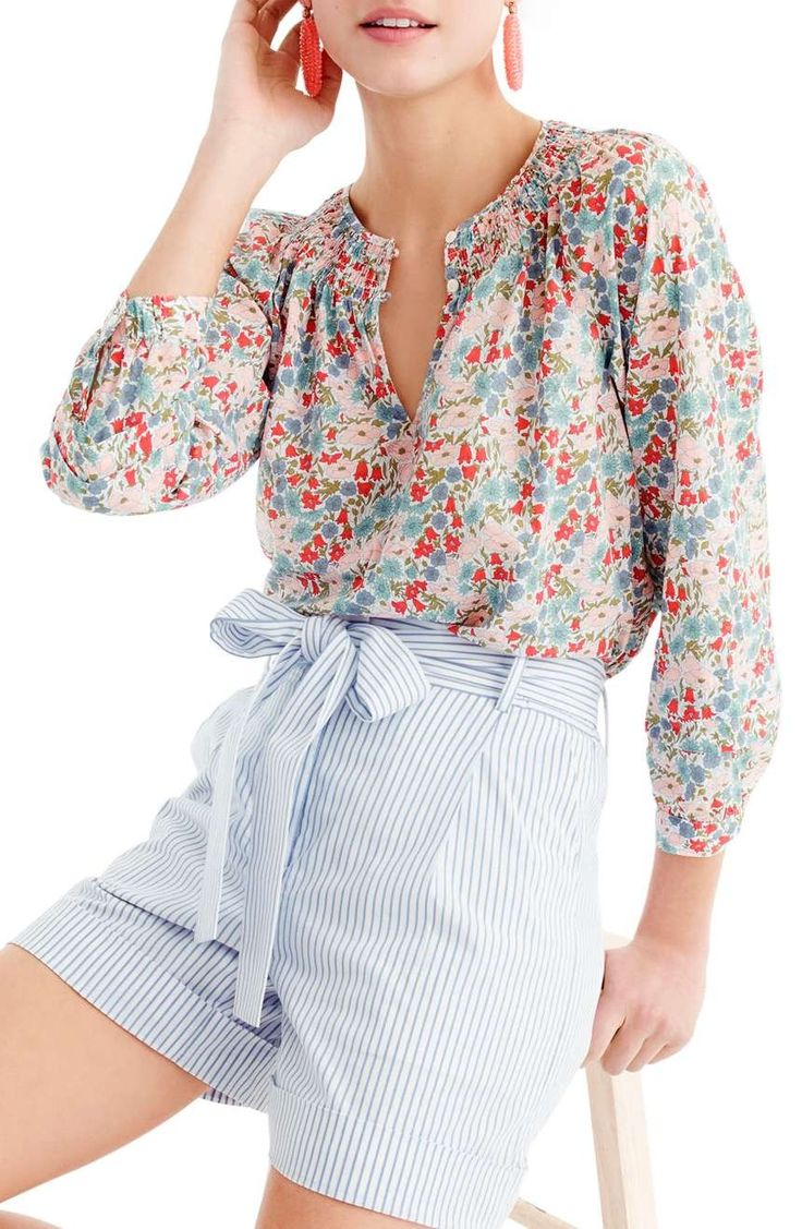 This cute peasant top features a pretty pattern from renowned British print  house Liberty Art Fabrics