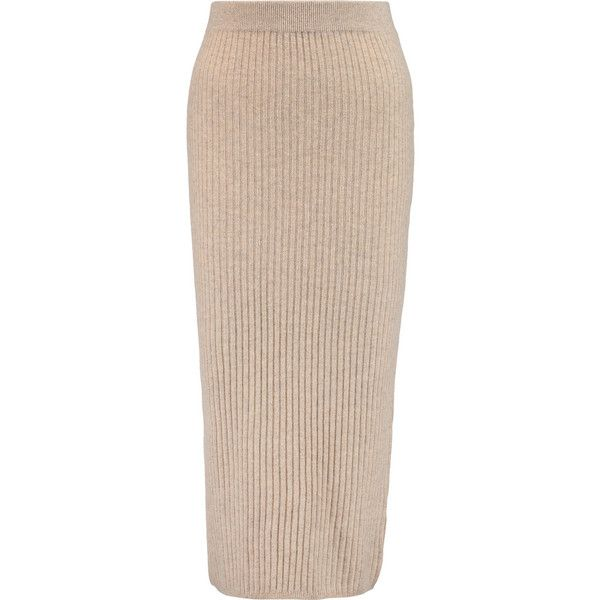 Iris and Ink Ribbed cashmere midi skirt found on Polyvore featuring skirts, nude, calf length skirts, ribbed skirt, midi skirt, pink skirt and elastic waist skirt