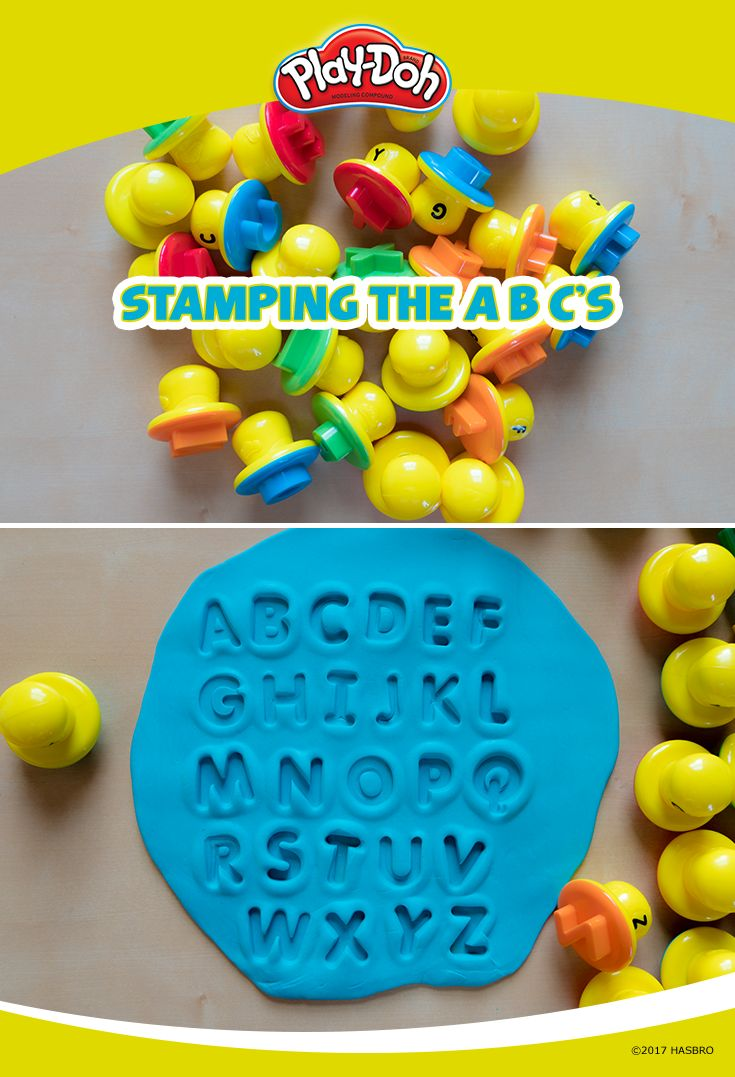 """Get your kids excited about the alphabet by turning it into a Play-Doh game! Here's how to play:1. Collect all the letter stampers from the Shape and Learn Letters and Language set. 2. Roll out a large """"sheet"""" of Play-Doh compound with plenty of room to stamp. 3. Have your kids stamp the alphabet! By using the compound, it's easy to correct a mistake and keep going—no need for a fresh piece of paper—until they get it right."""