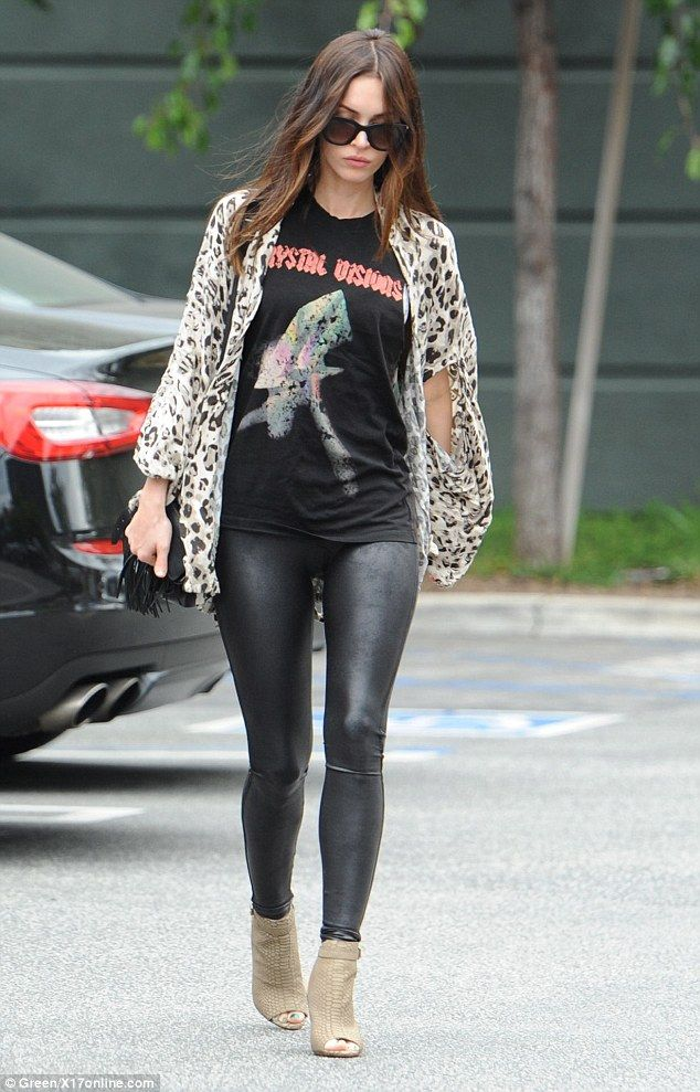 megan fox has lunch in skintight leggings with brian