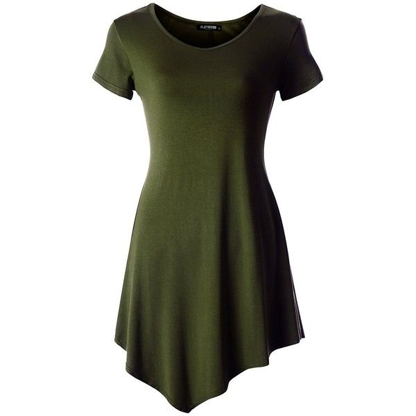 FLATSEVEN Womens Scoop Neck Tunic Tops with Short Sleeve (Made in USA) ($15) ❤ liked on Polyvore featuring tops, tunics, green top, scoopneck top, scoop neck tunic, short sleeve tops and short sleeve tunic