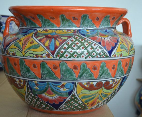 XL Large 18 X 13 Talavera Mexican Pottery . Flower By MexicanTiles, $100.00