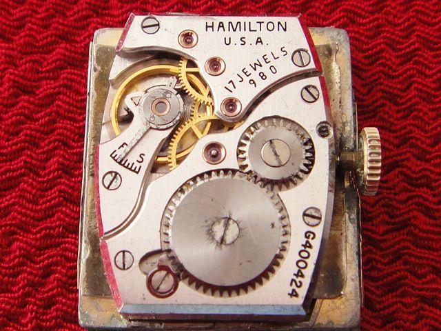 稀少★40's HAMILTON ハミルトン USA製 14金張ゴールドケース 手巻アンティーク腕時計 スモセコ角型デコ 未使用品レザーバンド付 ブラウン_画像6